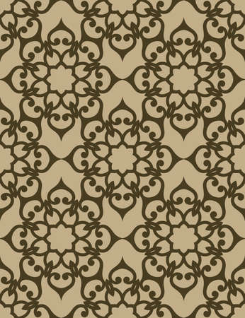 Swirly lace texture, golden seamless pattern, vintage ornamental background with floral scrolls. Wrapping paper design. Vettoriali