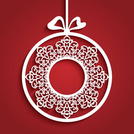 Christmas decoration with lace border pattern, cutout paper bauble hanging on ribbon, round xmas ornament, circle label, template for laser cutting. Place for text. Vettoriali