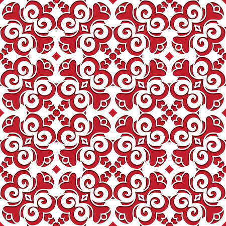 Seamless lace texture, paper cut pattern, abstract swirly ornament on red background