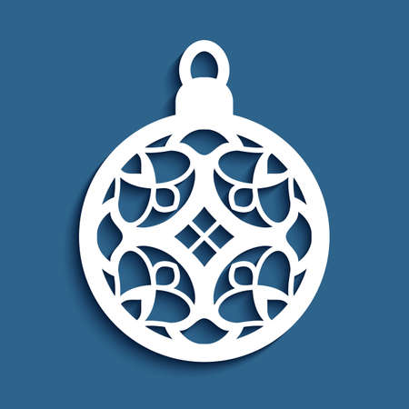 Christmas ornament with stencil pattern on blue background, xmas bauble with lace texture, cutout paper round decoration, template for cutting Çizim