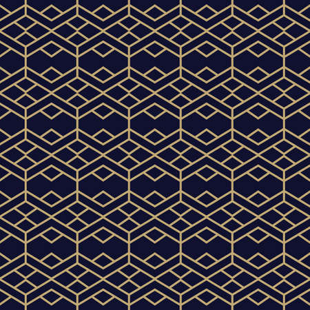 Simple geometric pattern with golden line ornament. Black and gold luxury background. Abstract seamless texture in minimal style.