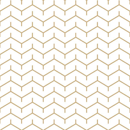 Simple geometric pattern with golden zigzag stripes. White and gold ornamental background. Abstract seamless texture in minimal style. Vettoriali
