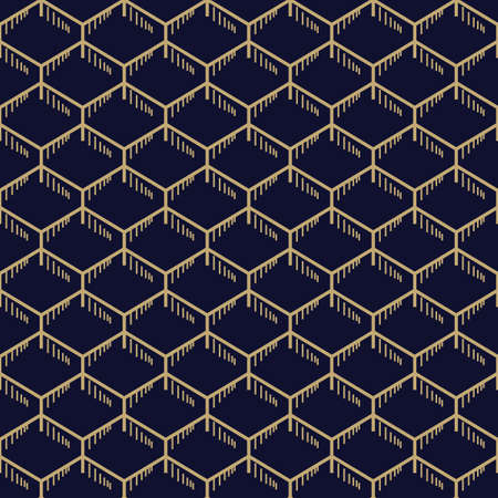 Abstract simple honeycomb pattern with golden stitches. Dark blue and gold geometric background. Seamless texture in minimal style.