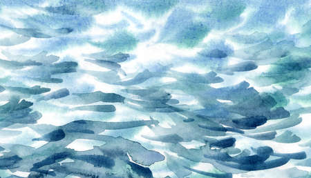 Hand painted sea water texture, abstract watercolor background