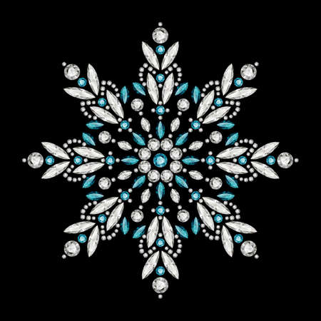 Vintage snowflake pattern, jewelry winter decoration with diamonds and precious gemstones isolated on black background. Christmas ornament. Elegant jewellery snow flake or mandala decor.