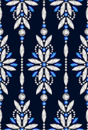 Jewellery seamless pattern with diamonds and sapphire gemstones, elegant jewelry ornament on black background