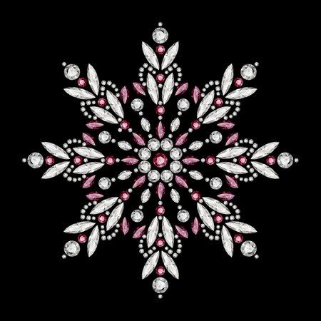 Vintage snowflake pattern, jewelry winter decoration with diamonds and precious gemstones isolated on black background. Christmas ornament. Elegant jewellery snow flake or mandala decor.