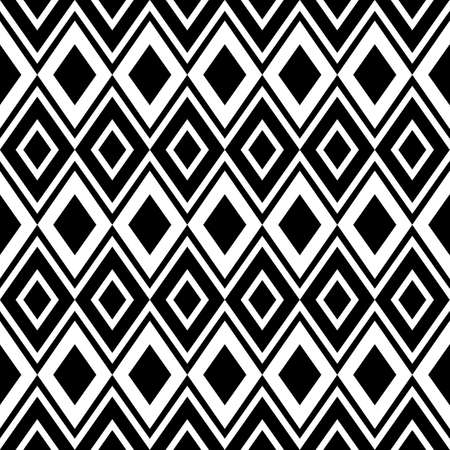 Black and white ornament, abstract geometric seamless pattern