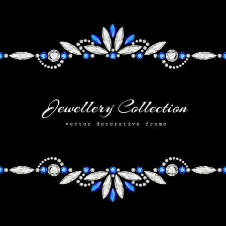 Elegant jewellery frame with diamonds border ornament, vintage jewelry vignette with sapphire gemstones on black background. Jewellery flourish decoration for fashion design.