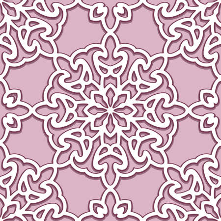 Seamless lace texture, swirly line pattern, abstract stencil ornament, cut paper decoration, ornate background in pink color