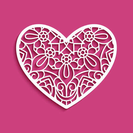 Stencil heart with lace pattern, template for laser cutting, paper cut decoration for wedding invitation or Valentines day greeting card, lacy heart decor with line ornament