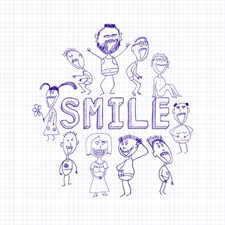 baile caricatura: esbozo de personas sonrientes felices, emociones positivas Vectores