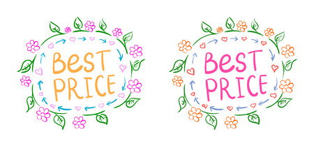 doodle text: Doodle background. Cute illustration with doodle text best price