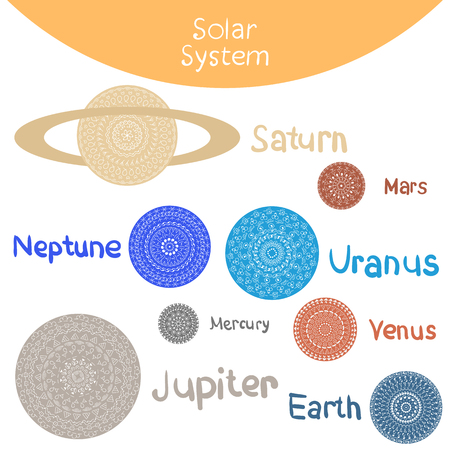 gravitational: Vector illustration, solar system. Planets from our solar system