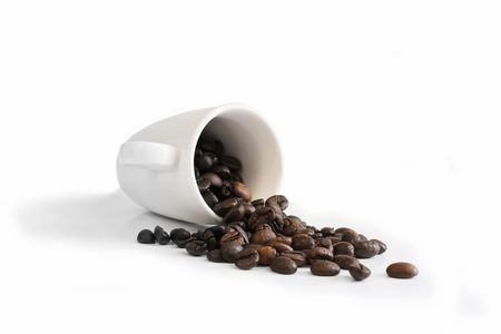 Coffee cap and coffee beans isolated from white