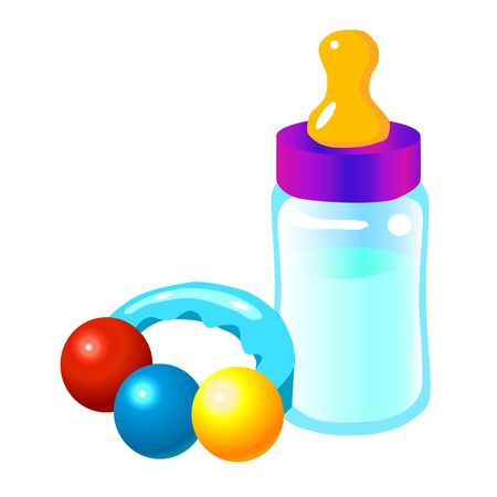 Baby bottle and baby toy Stock Photo - 5546449