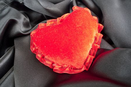 counterpane: Valentine heart - soft pillow with I love you embroidering. Valentines Day heart shaped pillow. Fluffy soft red heart over pink satin.