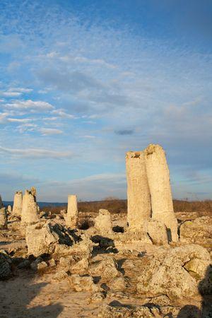 peculiarities: Phenomenon rock formations in Bulgaria around Varna - Pobiti kamani. National tourism place. Upright stone. Earth pillar in Bulgaria