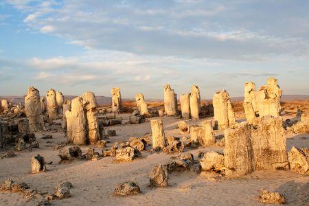 phenomenon: Phenomenon rock formations in Bulgaria around Varna - Pobiti kamani. National tourism place. Upright stone. Earth pillar in Bulgaria
