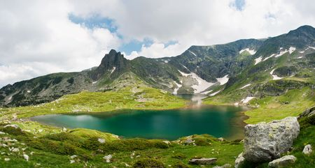 frozen lake: The Seven Lakes of Rila mountain in bulgaria Stock Photo