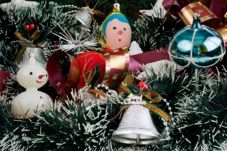 Christmas decoration with Christmas toys photo