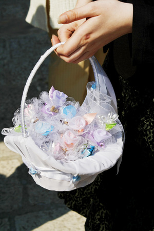 Basket with wedding candies decoration. photo