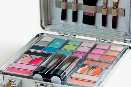 Multicolored eye shadows with cosmetics brush  Eyeshadow makeup palette  Colorful eye shadow make up  photo
