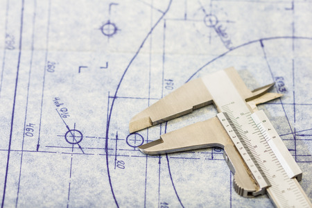 engineering drawing: detailed mechanical engineering blueprint with gauge