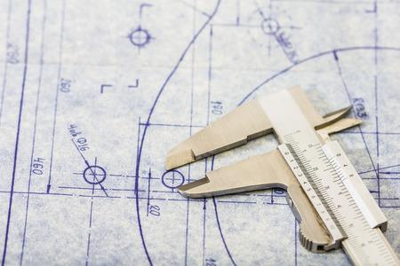 dettagliato progetto di ingegneria meccanica con indicatore Archivio Fotografico