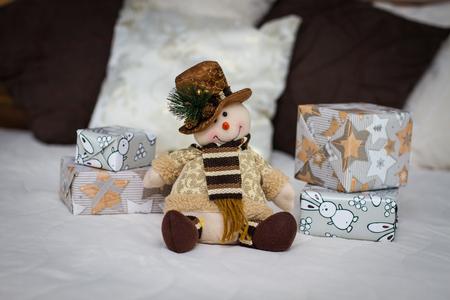 Snowman. Christmas decoration with Christmas toys Reklamní fotografie