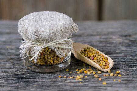 Wooden spoon with bee pollen