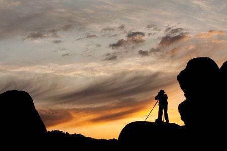 日没の撮影写真のシルエット 写真素材
