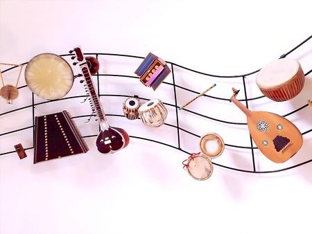 instrumentos musicales: Instrumentos musicales muro pantalla