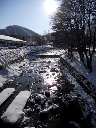Snowy river at a ski resort