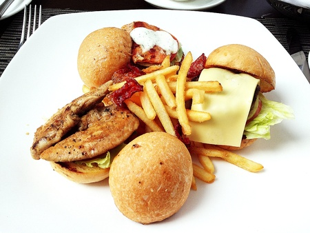 Mini gourmet burgers with french fries