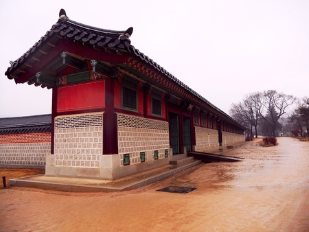 Palace in Korea after the rain