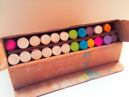 Colourful box of chalk Stock Photo