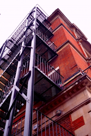 Red brick building with stairs