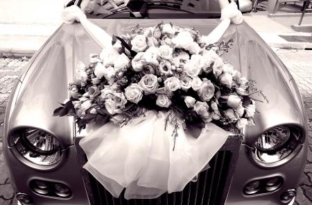 Wedding car decorations Stock Photo
