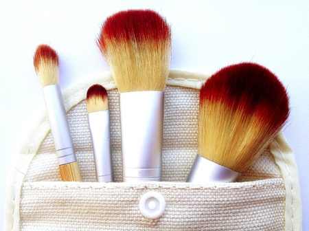 Makeup brushes in white background