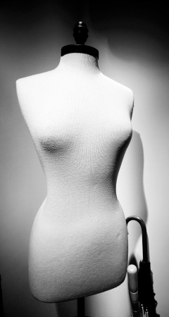 Black and white of a mannequin