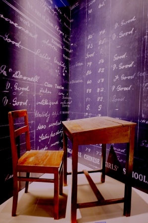 Wooden table and chairs for school Stock Photo