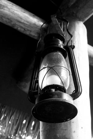 Black and white oil lamp