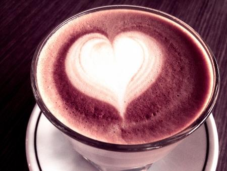 Love shape art on coffee Stock Photo