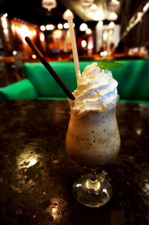 Whipped cream ice blended coffee chocolate with mint drink
