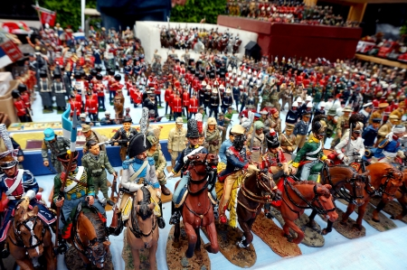 Toy soldiers in a market