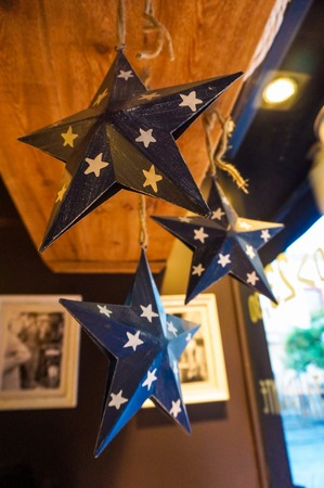 Blue stars hanging in a cafe