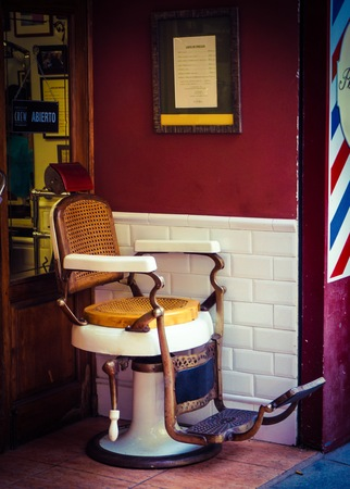 barber chair: Vintage barber chair Editorial