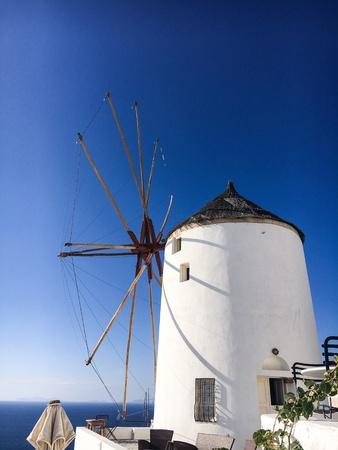 Windmill of Santorini Oia Stock Photo