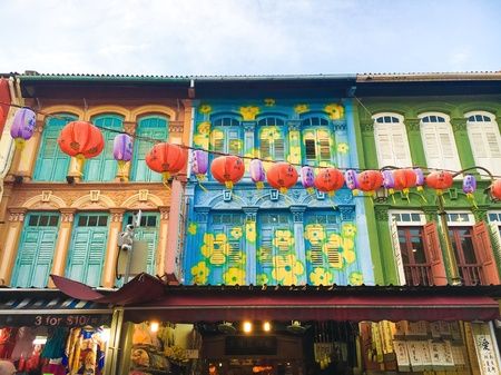 architectural: Singapore Chinatown Stock Photo
